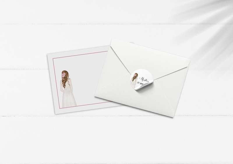 kuvert pakke med stickers flower girl blomst