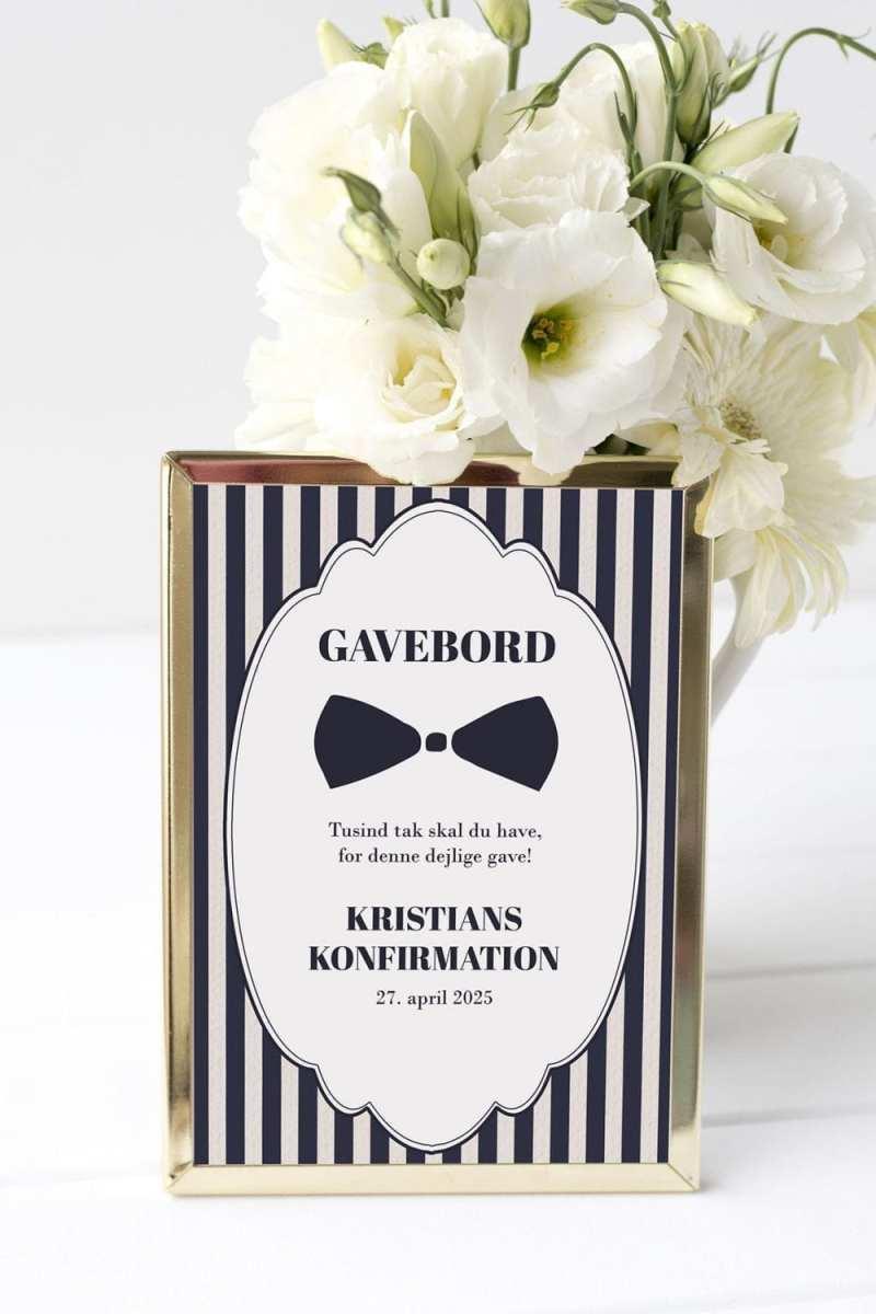 gavebord skilt konfirmation gentleman