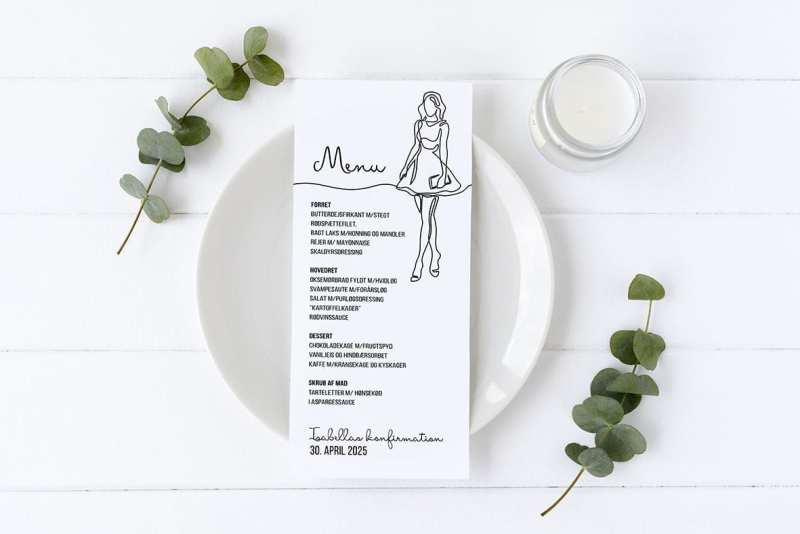 menukort konfirmation oneline drawing pige med taske