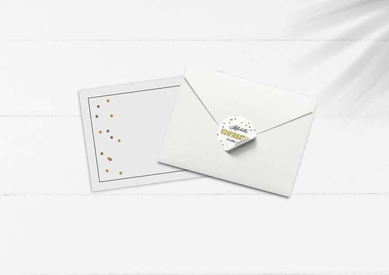 kuvert pakke med stickers guld glimmer