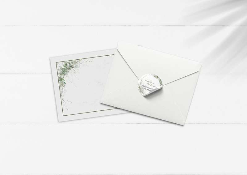 kuvert pakke med stickers forår grønt natur