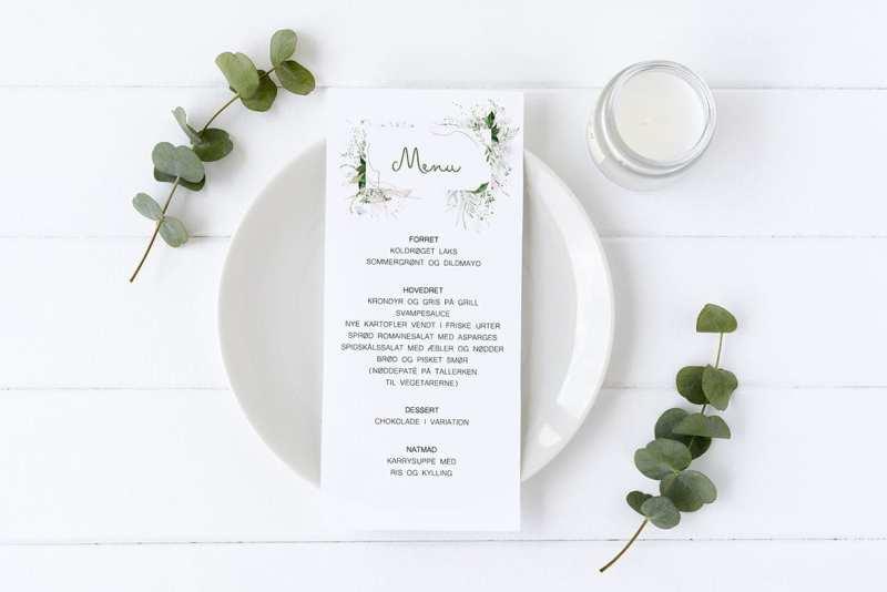 menukort konfirmation grønt og enkelt