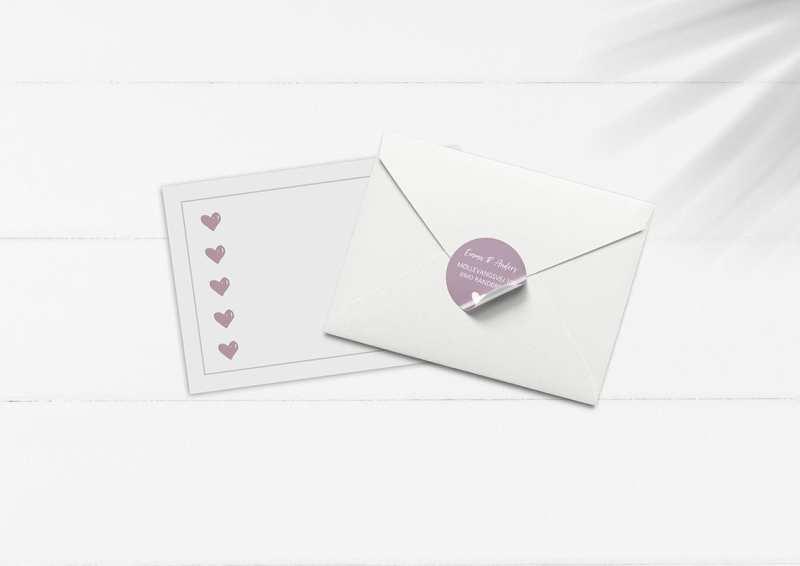 kuvert pakke med stickers rosa hjerter