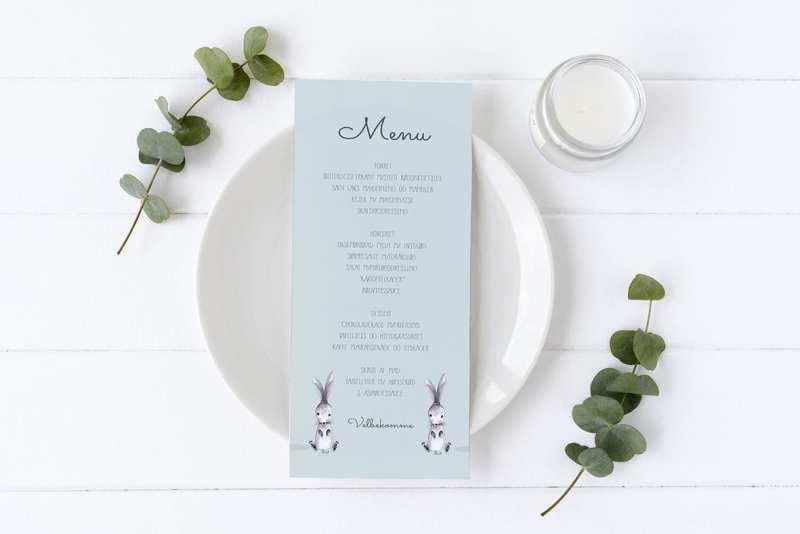 menukort med kaniner - blå, barnedåb