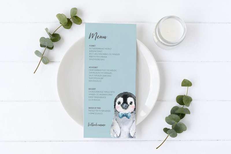 menukort til barnedåb