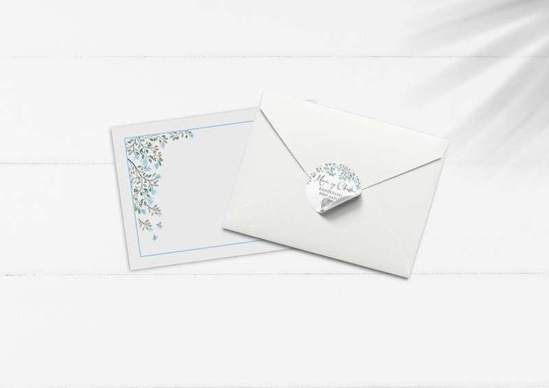 kuvert pakke med stickers elefant og blå blomster