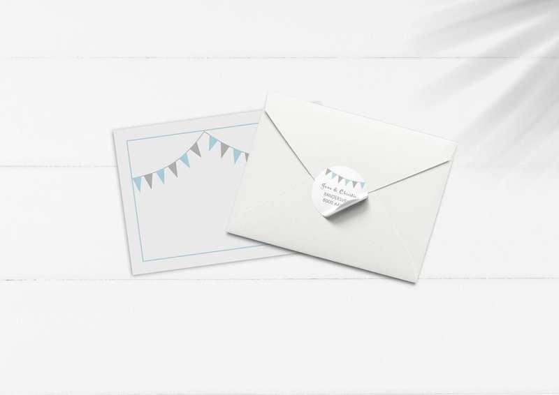kuvert pakke med stickers guirlande turkis og grå
