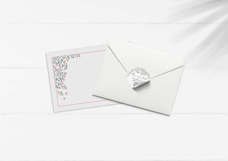 kuvert pakke med stickers elefant lyserøde blomster