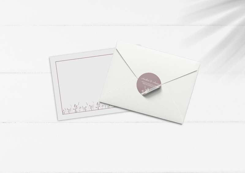 kuvert pakke med stickers gammelrosa blomster