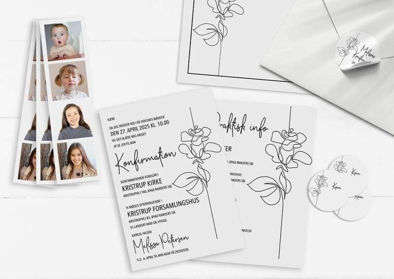 Konfi invitation rose line