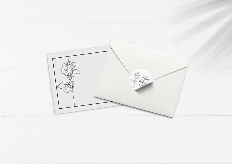 kuvert pakke med stickers rose streggrafik