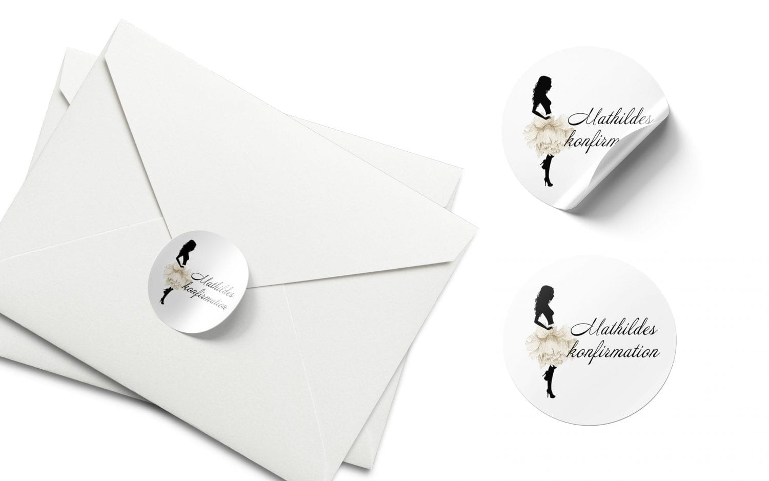 stickers konfirmation silhuette white