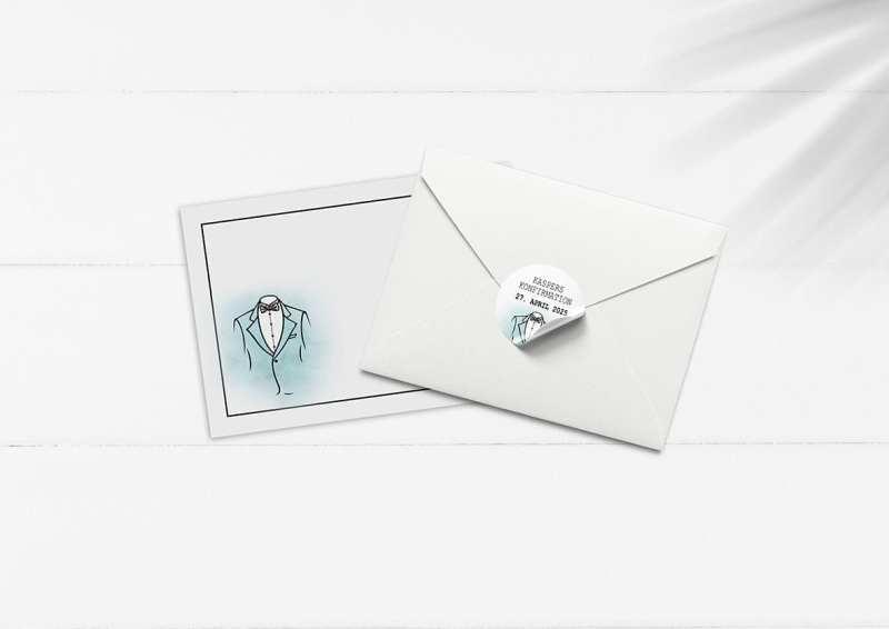 kuvert pakke med stickers turkis jakkesæt