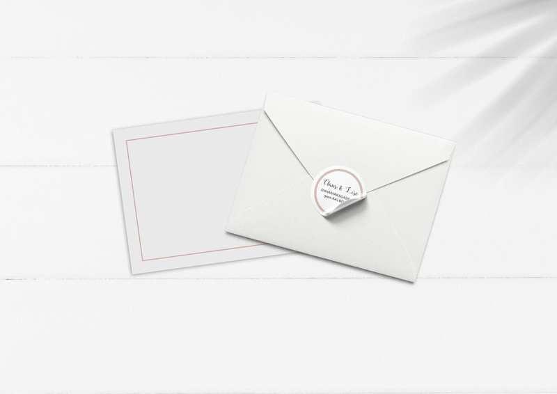 kuvert pakke med stickers rosa enkelt