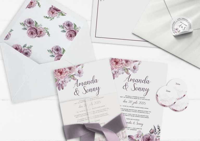 invitation A5 boheme dreams lyserød og lilla nuancer