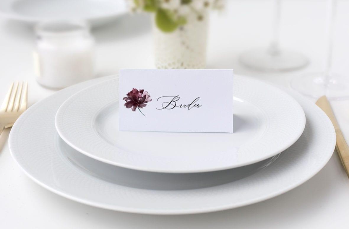 bordkort til bryllup rød rose