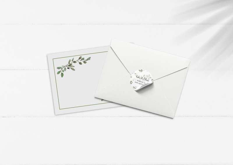 Kuvert med grønne blade