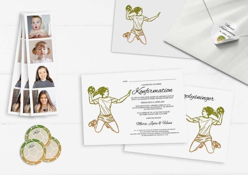 Invitation Handball dreams sammen med fotostribe, kuvert, afsenderstickers og manillamærker