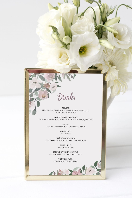 Blush Blossom, drinkskort, bryllup