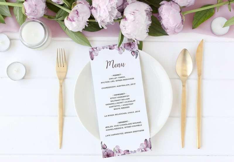 menukort boheme lilla lyserød