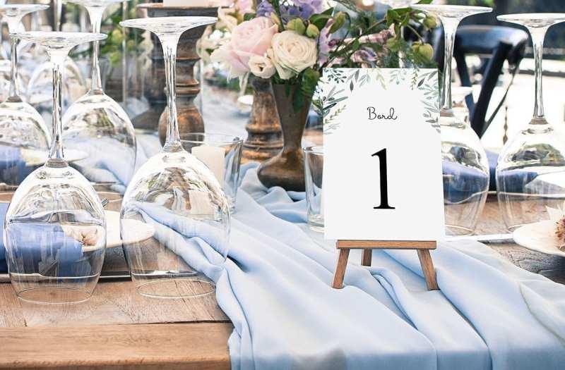 bordnummer, eucalyptus delight, fest, pynt opdækning, bordopdækning