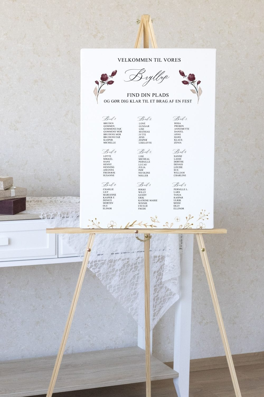 Bordeaux Bloom, bordplan, bryllup