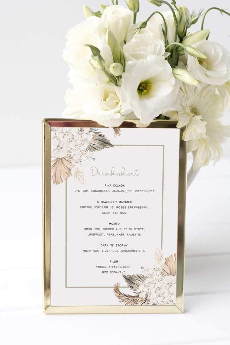 drinkskort, ramme, botanical rhapsody, bryllup