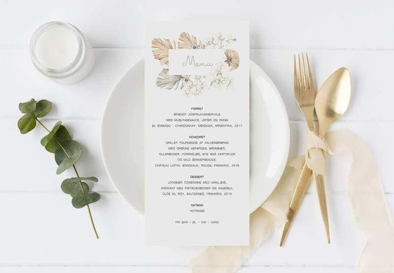 menukort beige tørrede blomster boheme