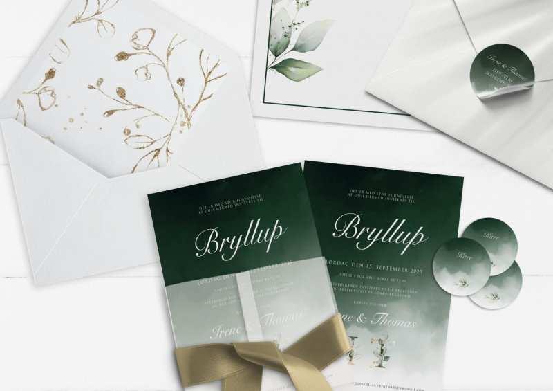 Dark Green Kalker, invitation, bryllup