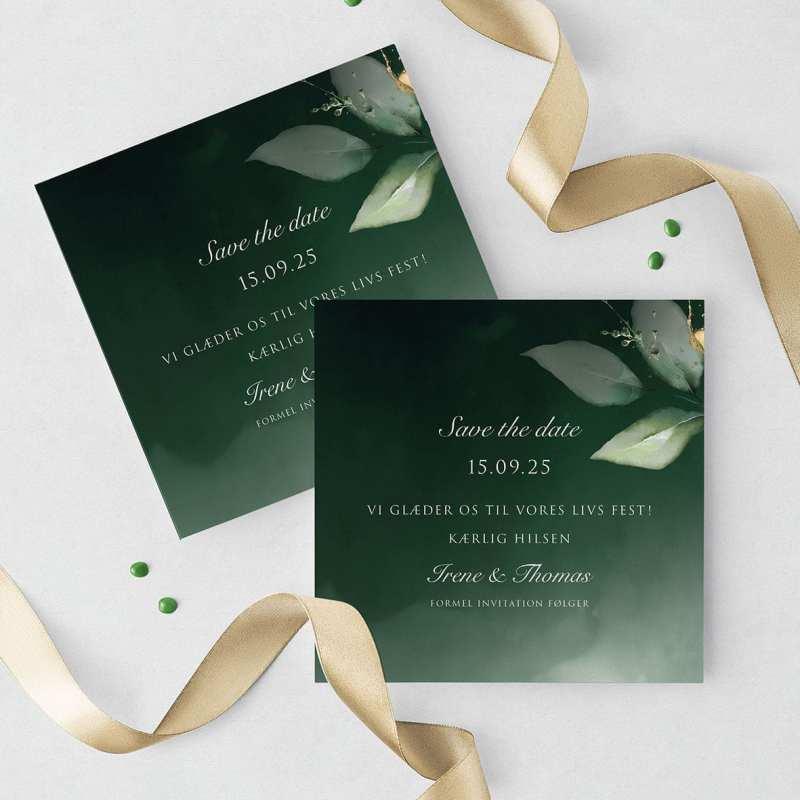 Save the date grønne blade Dark Green Kalker