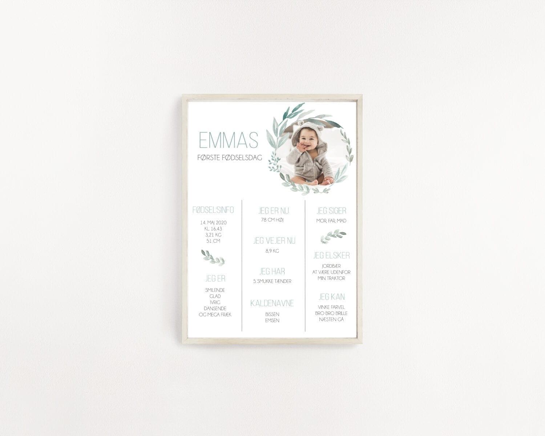 Emma milepælsplakat grøn eukalyptus natur