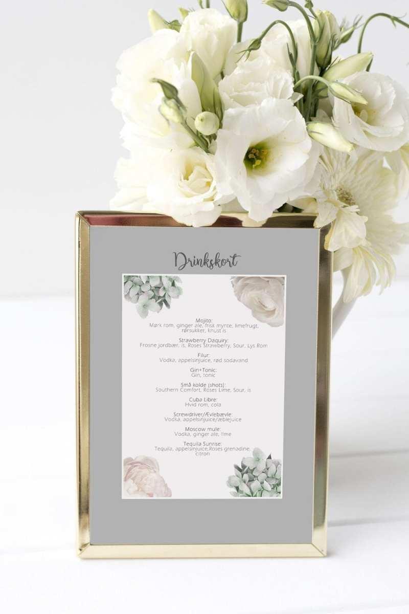 drinkskort, ramme, flower dream, bryllup