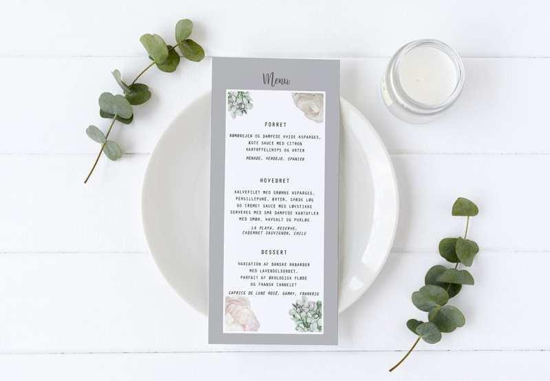 borddækning menukort flower dream