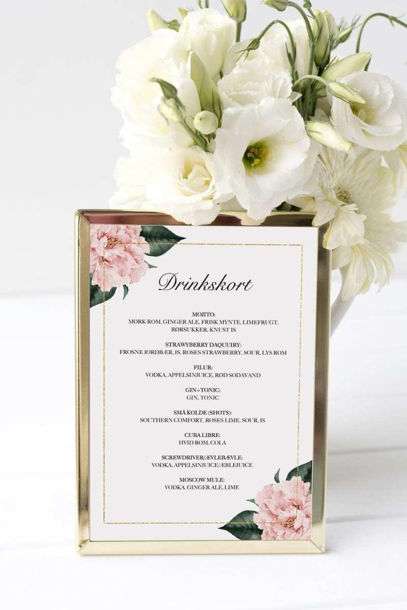 drinkskort, ramme, gold frame, bryllup