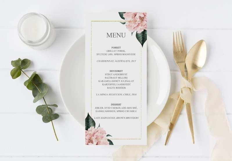 menukort til bryllup gold frame