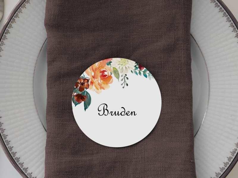 Golden Bouquet, runde bordkort, bryllup