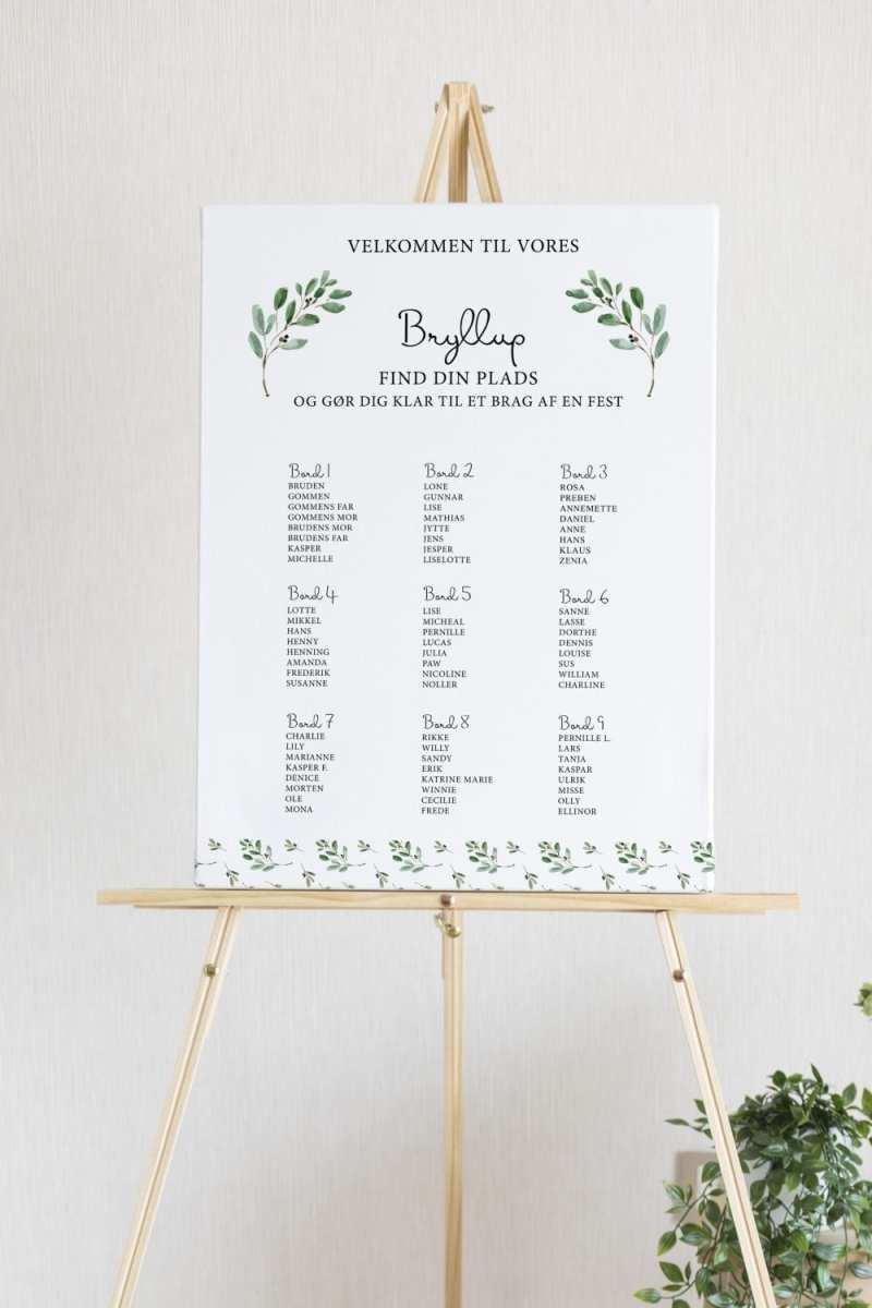 Green Leaf, bordplan, bryllup