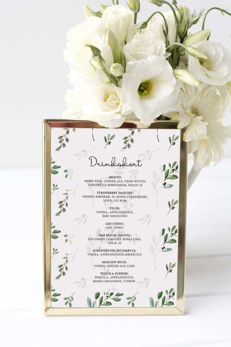 drinkskort, ramme, green leaf, bryllup