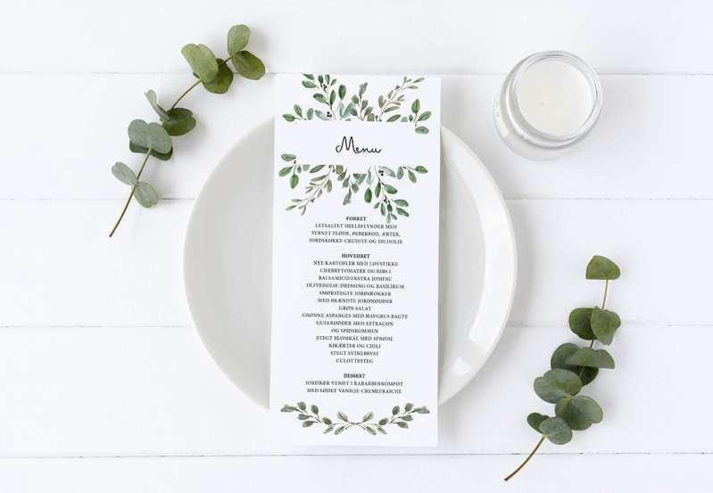 menukort blade green leaf