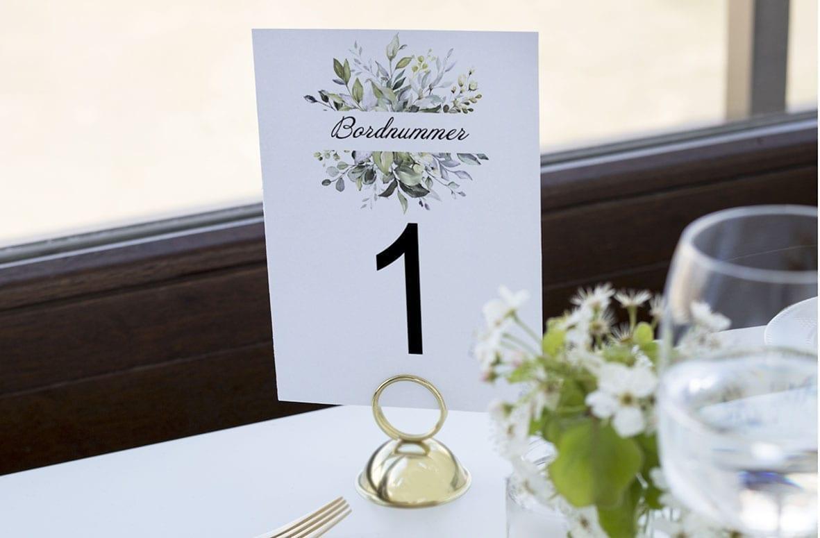 bordnummer, greenery fame, fest, pynt opdækning, bordopdækning