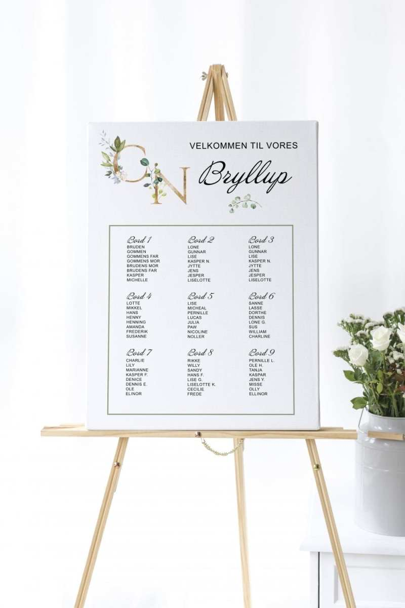 Greenery Fame, bordplan, bryllup
