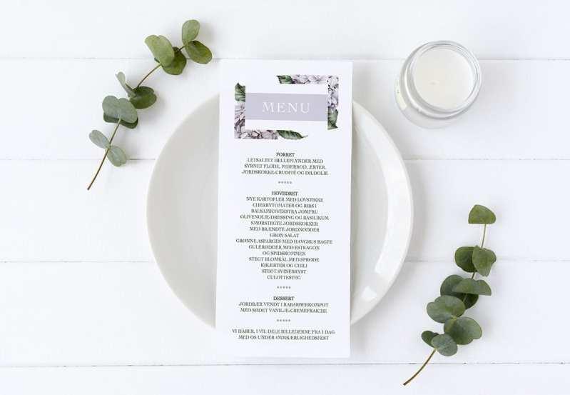 menukort Lavender Hydrangea