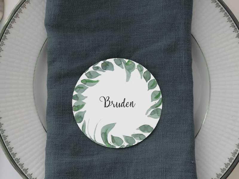 Leaf Me, runde bordkort, bryllup