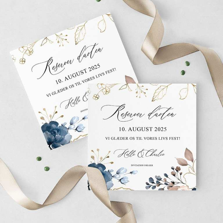 Navy Bloom Save The Date Kort