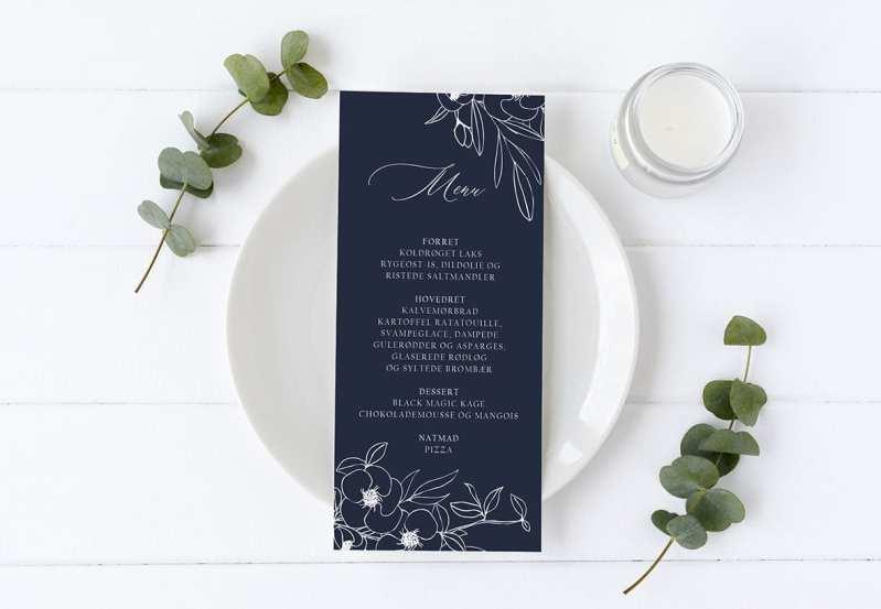 menukort til bryllup Nebula