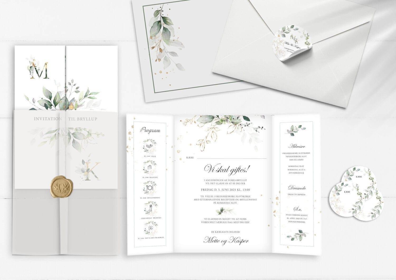 gold leaf. invitation. bryllup. porte fals