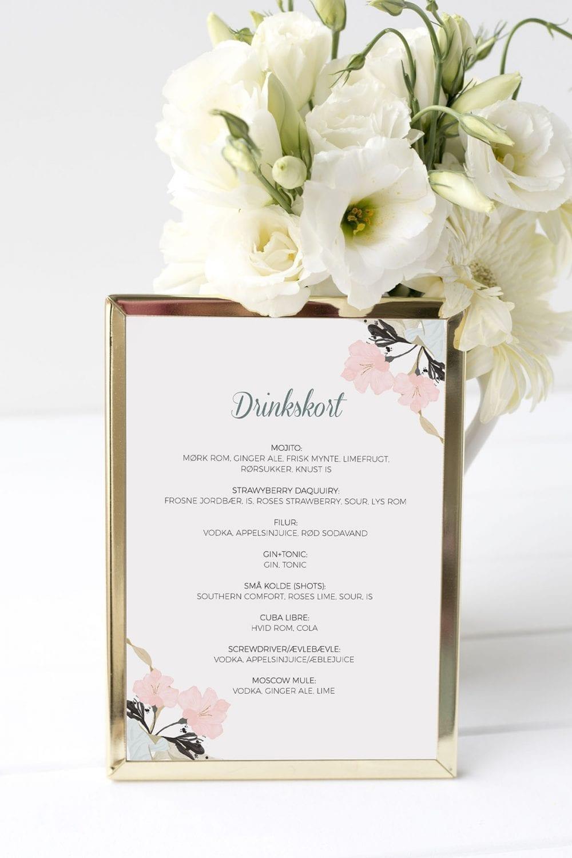 drinkskort, ramme, pale blue, bryllup