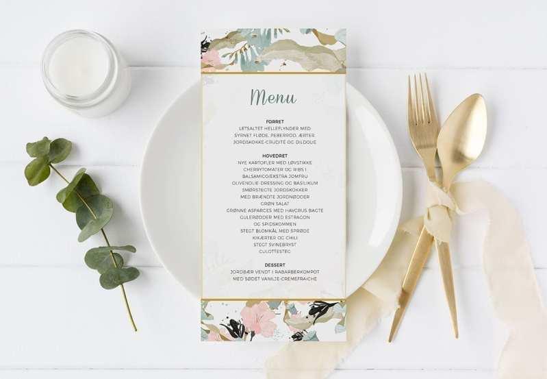 menukort til bryllup Pale Blue