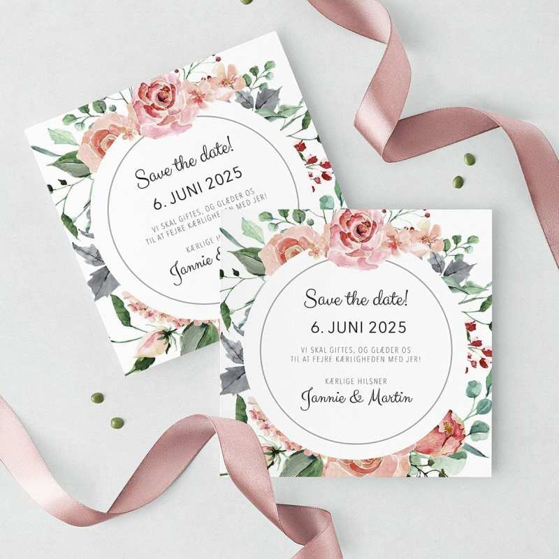 Save The Date Kort Pale Rose