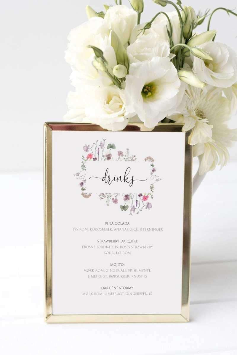drinkskort, ramme, pressed flowers, bryllup